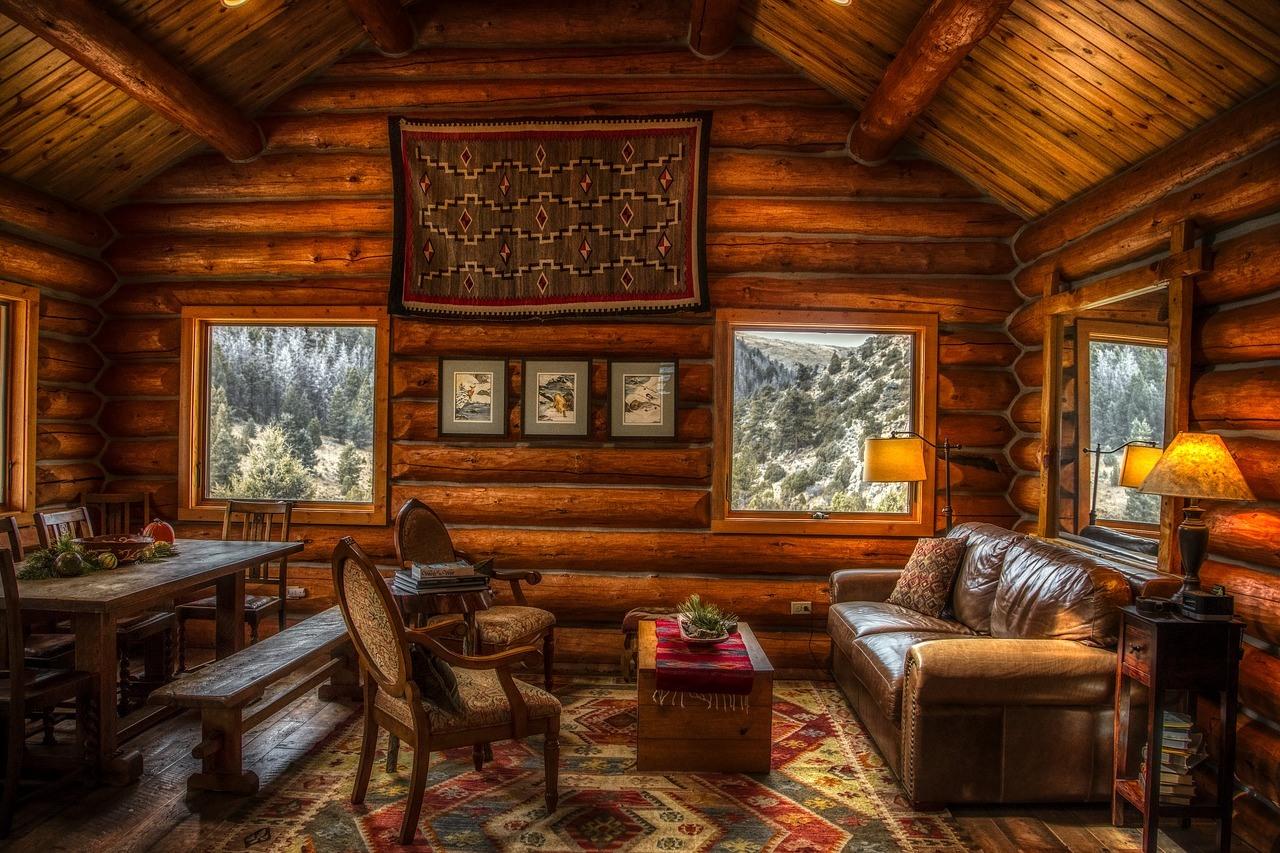 Inside a cozy log cabin