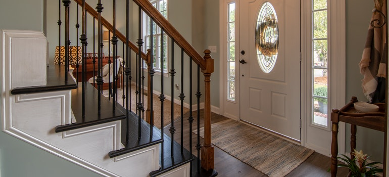 Staircase and wooden doors
